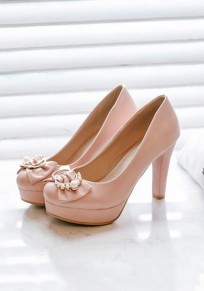 Pink Round Toe Chunky Pearl Bow Fashion High-Heeled Shoes