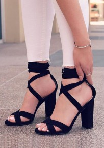 Black Round Toe Chunky Cut Out Fashion High-Heeled Sandals
