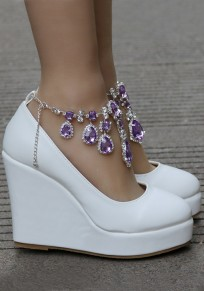 White Round Toe Purple Rhinestone Chain Fashion Wedding Wedges Shoes
