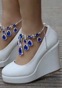Blue Round Toe Rhinestone Chain Fashion Wedges Shoes