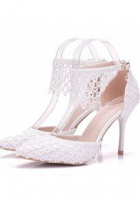 White Point Toe Lace Stiletto Fashion High-Heeled Shoes