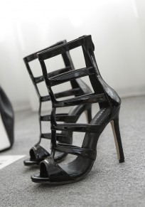 Black Round Toe Stiletto Cut Out Fashion High-Heeled Sandals
