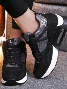 Black Round Toe Flat Sequin Patchwork Casual Heavy-Soled Shoes