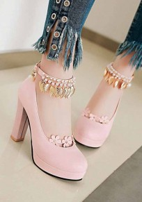 Pink Round Toe Pearl Metal Decoration Chunky High-Heeled Shoes