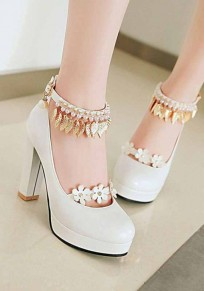 White Round Toe Pearl Metal Decoration Chunky High-Heeled Shoes