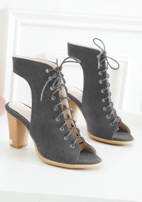 Grey Piscine Mouth Chunky Lace-up Fashion High-Heeled Sandals