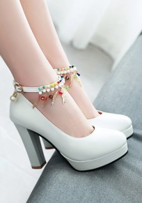 White Round Toe Chunky Pearl Metal Decoration Buckle Sweet High-Heeled Shoes