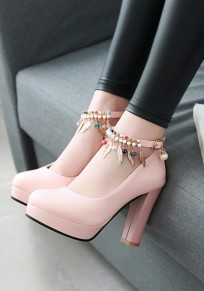 Pink Round Toe Chunky Pearl Metal Decoration Buckle Sweet High-Heeled Shoes