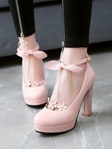 Pink Round Toe Chunky Buckle Bow Chain Flower Sweet High-Heeled Shoes