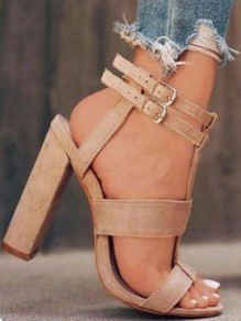 Beige Round Toe Chunky Buckle Fashion High-Heeled Sandals
