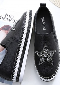 Black Round Toe Flat Rhinestone Casual Heavy-Soled Shoes