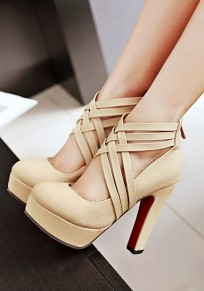 Beige Round Toe Chunky Cross Strap Fashion High-Heeled Shoes