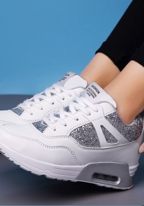 White Round Toe Sequin Fashion Ankle Shoes