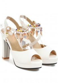 White Piscine Mouth Chunky Pearl Cut Out Fashion High-Heeled Sandals
