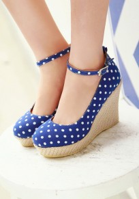 Blue Round Toe Wedges Bow Sweet Ankle Shoes