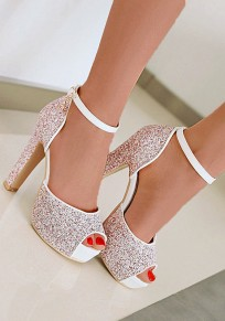 Red Round Toe Chunky Sequin Buckle Fashion High-Heeled Sandals