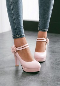 Pink Round Toe Chunky Flower Velcro Sweet High-Heeled Shoes