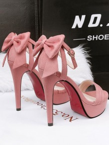 Pink Round Toe Stiletto Bow Buckle Fashion High-Heeled Sandals