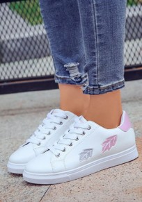 White And Pink Round Toe Flat Embroidery Casual Ankle Shoes