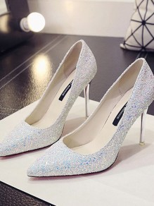 White Point Toe Stiletto Sequin Fashion High-Heeled Shoes