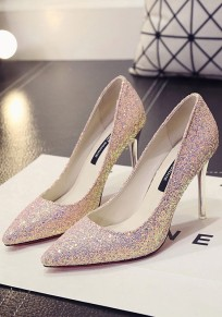Pink Point Toe Stiletto Sequin Casual Fashion Homecoming Party High-Heeled Shoes