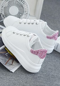 White And Pink Round Toe Flat Sequin Casual Ankle Shoes