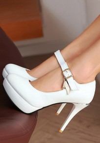 White Round Toe Stiletto Sheet-metal Buckle Fashion High-Heeled Shoes