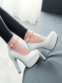 White Round Toe Chunky Metal Decoration Fashion High-Heeled Shoes