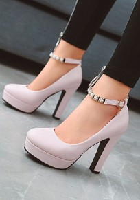 Pink Round Toe Chunky Metal Decoration Fashion High-Heeled Shoes