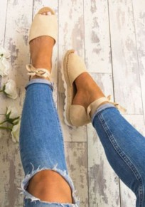 Beige Round Toe Flat Cut Out Casual Heavy-Soled Shoes