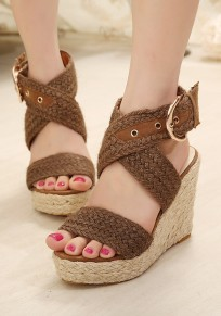 Brown Round Toe Wedges Buckle Fashion High-Heeled Sandals