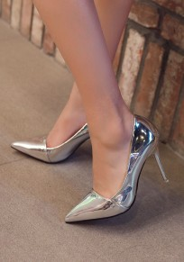 Silver Point Toe Stiletto Glitter Sparkly Fashion High-Heeled Shoes