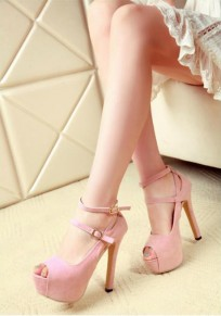 Pink Piscine Mouth Stiletto Buckle Fashion High-Heeled Sandals