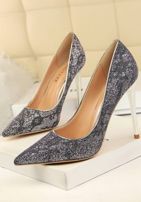Grey Point Toe Stiletto Lace Sequin Fashion High-Heeled Shoes