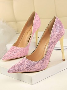 Pink Point Toe Stiletto Lace Sequin Fashion High-Heeled Court Shoes