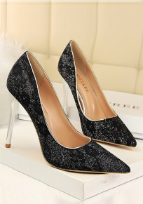 Black Point Toe Stiletto Print Fashion High-Heeled Shoes