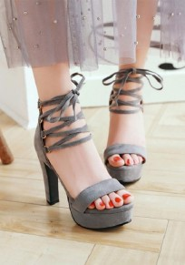 Grey Round Toe Chunky Cross Strap Fashion High-Heeled Sandals