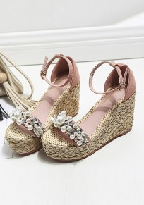 Pink Round Toe Wedges Pearl Buckle Fashion High-Heeled Sandals