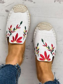 White Round Toe Embroidery Casual Ankle Sandals