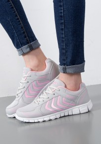 Grey And Pink Round Toe Flat Patchwork Casual Shoes