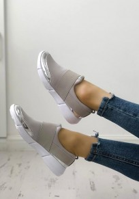 Grey Round Toe Flat Patchwork Casual Shoes