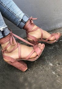 Pink Round Toe Chunky Cross Strap Fashion High-Heeled Sandals