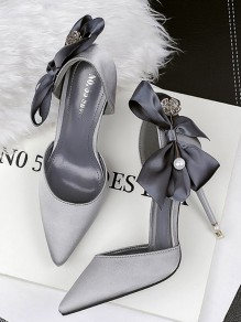 Grey Point Toe Stiletto Bow Silk Fashion High-Heeled Shoes
