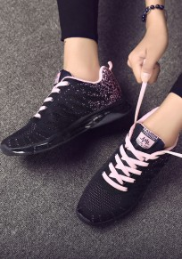 Black And Pink Round Toe Flat Patchwork Casual Shoes