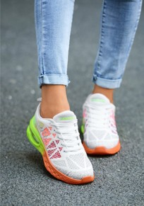 White And Orange Round Toe Lace-up Casual Ankle Shoes