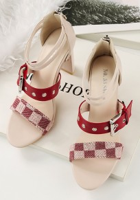 Beige Round Toe Chunky Patchwork Fashion High-Heeled Sandals