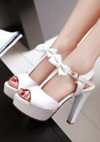 White Round Toe Chunky Bow Fashion High-Heeled Sandals
