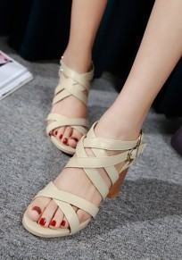 Beige Round Toe Chunky Cut Out Buckle Fashion Sandals