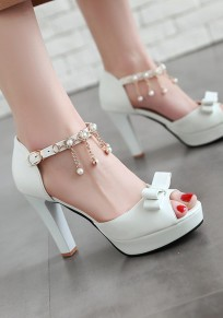 White Piscine Mouth Chunky Bow Pearl Buckle Sweet High-Heeled Sandals