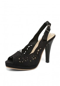 Black Piscine Mouth Stiletto Cut Out Buckle Fashion High-Heeled Sandals